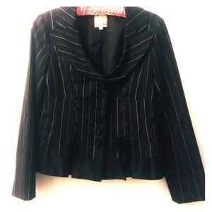 Nanette Lenore pink, white pinstripe corset blazer